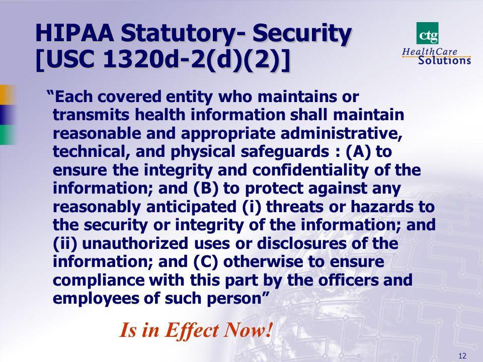 HIPAA Statutory- Security [USC 1320d-2(d)(2)]
